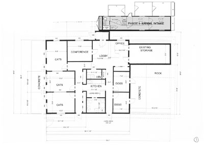 floor plan of proposed shelter, showing Phase I as a semi-detached building in front of the larger Phase II building.